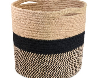 """Hand Woven Cotton Rope Plant Basket (11""""x11"""") for Home Decoration"""