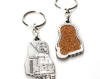 Buy 2 get 1 free -SALE - Holy steps keychain inset with sacred soil from Jerusalem , key ring , gift for him , christmas gift,religion,lot