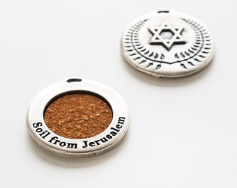 Opening sale! Magen David silver necklace pendant inset with soil from Gethsemane in Jerusalem ,holyland gift memory gift , judaica art