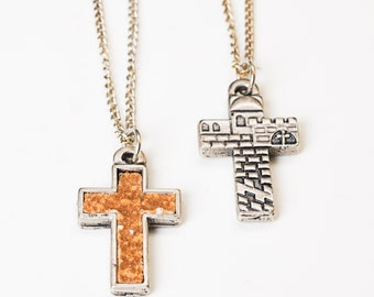 Piece of history embedded in pendant ,touch the ground from Mount of Olives in Jerusalem Gethsemane garden Religious jewelry,for men & women