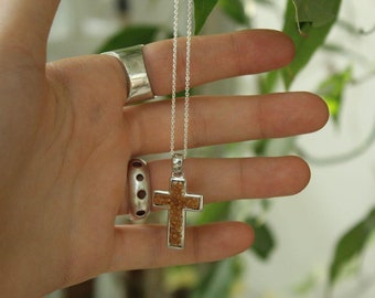Sterling silver cross necklace for women, Italian design with Jerusalem sacred soil,holiday christmas gift,holyland religious jewelry,girls