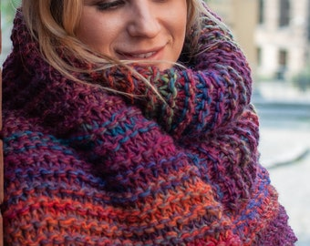 Long large scarf, Oversized scarf, Winter scarf, Hand knit scarf, Wool scarf for women,  Multicolored scarf, bySPLOTEKA, MAXCOLOR collection