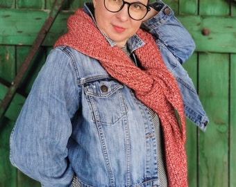 Red Triangle crochet SHAWL, autumn shawl, Red women's Shawl, Cotton shawl, merino wool,  COSY collection