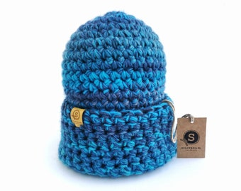 Blue women winter hat,  Crocheted hat, Slouchy beanie women, Cozy hat, Handmade hat, Long beanie, by SPLOTEKA, CRAZYCOLOR collection