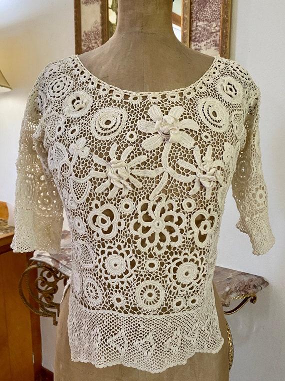 Antique Irish Crochet Blouse - image 1