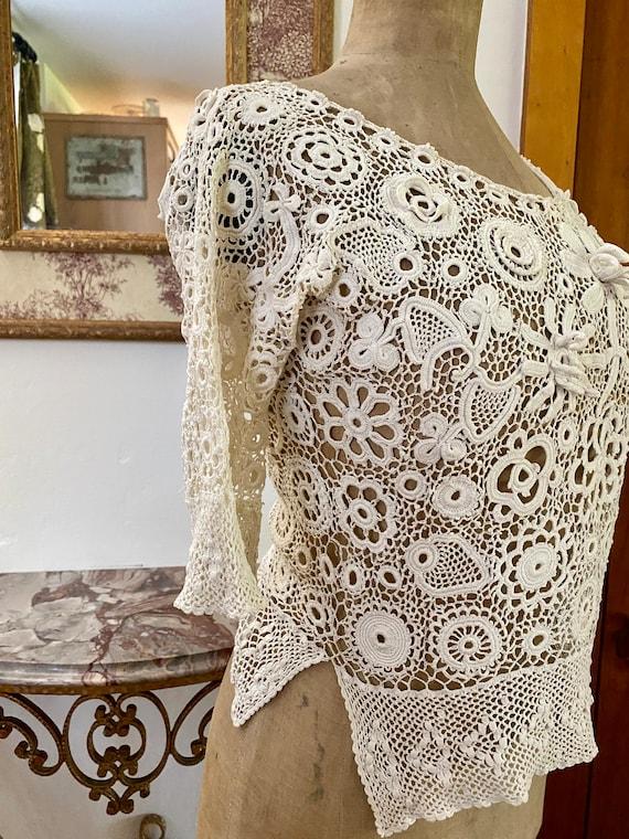 Antique Irish Crochet Blouse - image 4