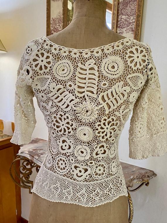 Antique Irish Crochet Blouse - image 3