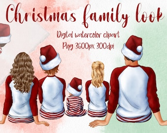Christmas Family Look Clipart, Sitting Family, Customizable Clipart, Big Family Clipart, Children Clipart, parents clipart, New Year 2022