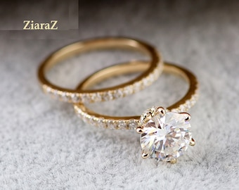 2.50Ct Round Accented Solitaire Bridal Set Hidden Halo Ring Set Pave Accente 3/4 Eternity Band 14K Gold Moissanite Ring Set,Lab Diamond Ring