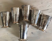 6 Silver Plate Beaded Mint Julep Cups