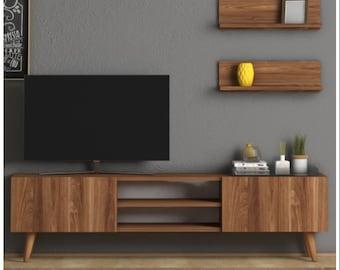 Walnut TV Stand, 150 Cm Tv Unit