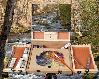 Pochade Box for Plein Air Painting. Oil Painting Box, Outdoor Painting Kit. Solid Wood Paint Box. Gouache painting pallet,Gift for Artists,