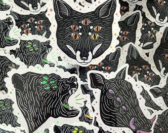 Eyes of the Wood 2.0 - Sticker, Holographic Sticker, Animal Sticker, Forest Spirit Sticker