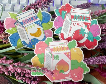 Kawaii Milk - Sticker, Cute, Japanese Aesthetic Sticker
