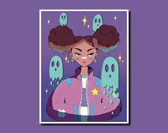 Ghost Girl - Art Print, Wall Art, Illustration, Digital Art Print, Ghost Print
