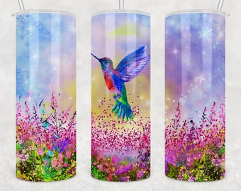 20 oz Skinny Tumbler Sublimation Design Template Glitter Hummingbird Straight and Warped PNG Digital Download