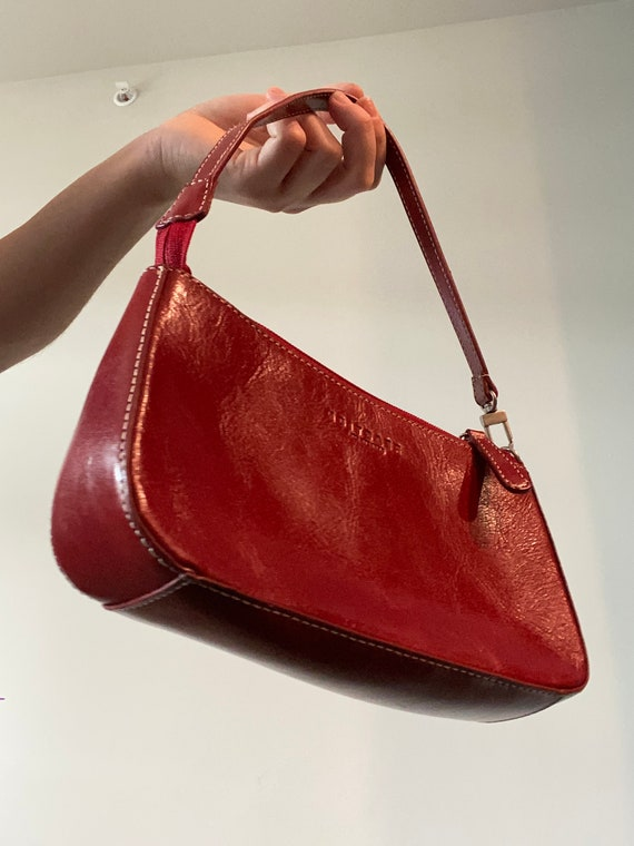 00's red leather mini bag