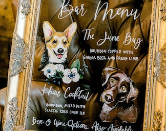 Hand Painted Pet Inspired Bar Menu for Wedding, Party, Event (Custom Made) on Acrylic Plexi Glass