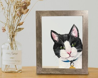 """Custom Hand-Painted in Acrylic Pet Portrait Dog, Cat, Any Pet, Acrylic on Plexi Glass 8"""" x 10"""" Anti-Shatter   Wedding Sign, Unique Gift"""