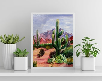 Colorful Desert Landscape Hand Painted Acrylic on Canvas Board (Ready to Frame)