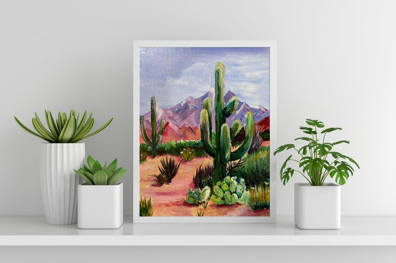 Colorful Desert Landscape Hand Painted Acrylic on Canvas Board image 1
