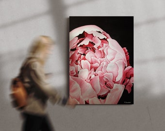 Large Acrylic Hyra Rose Hand-Painted on Canvas Painting
