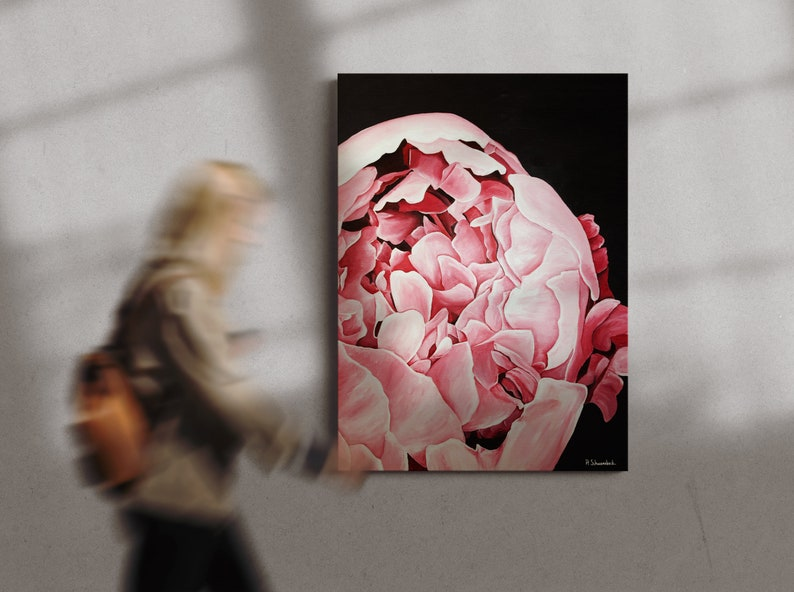 Large Acrylic Hyra Rose Hand-Painted on Canvas Painting image 1