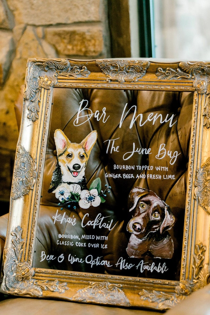 Hand Painted Pet Inspired Bar Menu for Wedding Party Event image 1