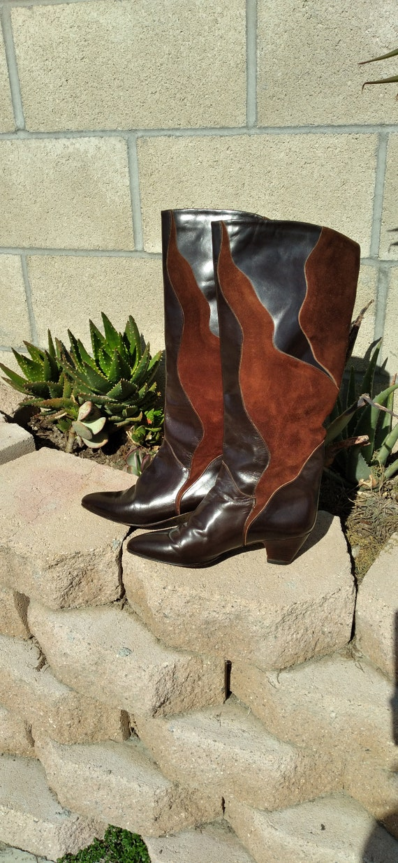 Chocolate Brown Leather Suede Boots