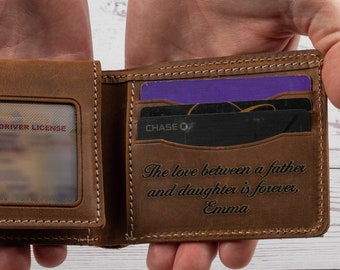 Custom Face Best Dad Blue Bow Leather Wallet
