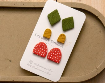 | earring | Earrings | polymer clay Polymer clay | Set of 3 | Set of 3 | Handmade| Handmade