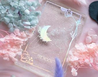 Holographic Resin Tarot Card | Flowers Mystical Tarot Deck | Divination Decorative | The Moon
