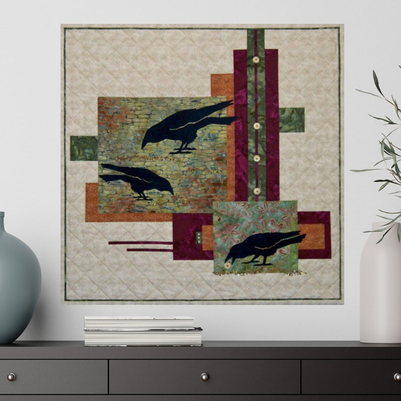 Cobblestone Crows  Wall Hanging  Fabric Wall Art  image 0