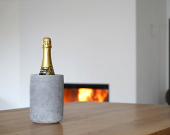 DEVIGA concrete bottle cooler/wine / champagne cooler made of concrete, furniture-friendly underside