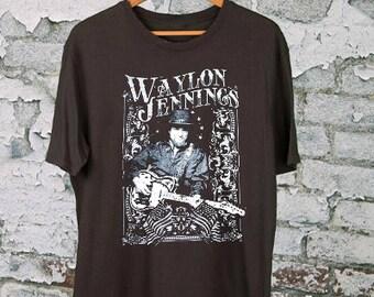 REPRINT VINTAGE 80s SHOTGUN WILLIE NELSON RINGER T-SHIRT WAYLON JENNINGS