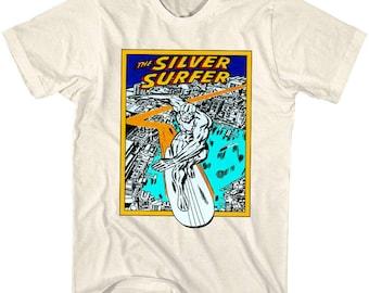 Vintage Silver Surfer T-shirt Rare Marvel Superhero Comic Book Movie Character Cartoon Promo Merchandise Faded Black Tee