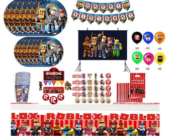 roblox party supplies, party roblox caketopper backdrop avatar, video game party, roblox favors, boy roblox banner decoration