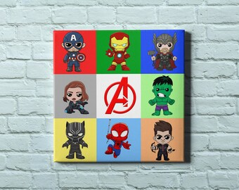 Marvel Avengers - cute characters canvas