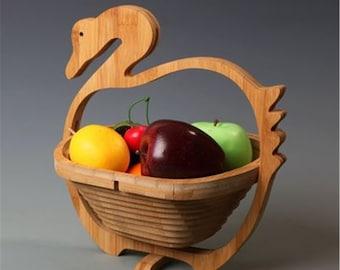 vintage mid century bamboo fruit basket with handle vintage kitchen decor and storage Folding Bamboo Fruit Basket