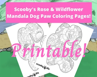 Scooby Rose and Wildflower Mandala Dog Paw Coloring Page Printables