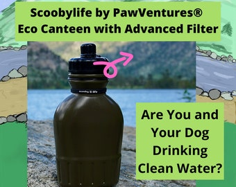 Portable Pop Top Squeeze Canteen 38oz with Replaceable 100 Gallon Advanced Water Filter for Water On The Go!