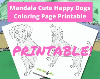Mandala Cute Happy Dogs Coloring Page Printable