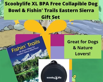 Scoobylife XL Black Collapsible Dog Bowl & Fishin' Trails: 25 Short Hikes for Eastern Sierra Wild Trout Book Gift Set