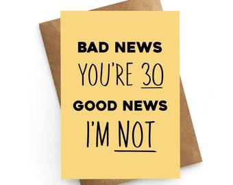 30th Birthday Card, Thirty Card, Birthday Card For Him, Sarcastic Birthday Card, 30th Gift