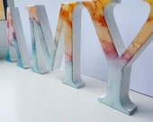 Custom MDF alcohol ink epoxy resin letters