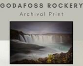 Iceland Landscape Godafoss Waterfall Rockery - Archival Matte Print :  waterfall