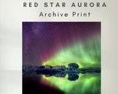 Iceland : Red Star Aurora - Archive Matte Print