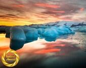 Iceberg Lagoon,  Jokulsarlon Glacier Lake,Iceland - Printable Wall Art Iceland Glacier Landscape - Digital Download