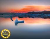 Iceland Jokulsarlon Glacier lagoon Dawn - Colour Wall Art, Archival Poster, Museum Grade Paper, Matte Finish Professionally Printed