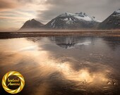 Icelandic Mountain Landscape - Brunahorn Gold Reflection, Iceland Winter Wall Art - Archive Print, Museum Grade Paper, Matte Finish